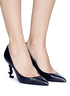 SAINT LAURENT 'Opyum 85' logo heel leather pumps