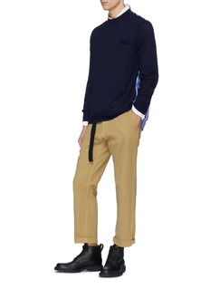 Sacai Stripe poplin back wool sweater