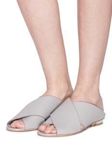Salvatore Ferragamo 'Lasa' cross strap kid leather mule sandals