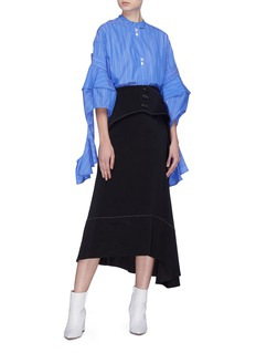 Ellery 'Yale' contrast topstitching drape panel skirt