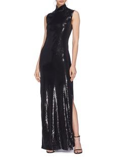 Galvan London 'Galaxy' split hem sequin turtleneck gown