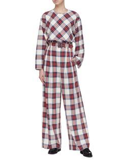Ms MIN Wide sleeve tartan plaid blouse