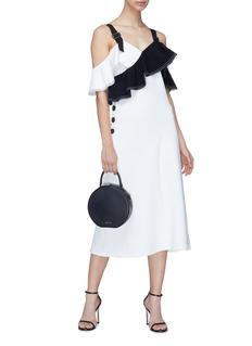 self-portrait Colourblock ruffle off-shoulder crepe dress