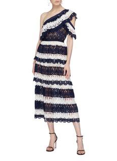 self-portrait Stripe crochet one-shoulder dress