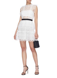 self-portrait Ruffle guipure lace mini dress