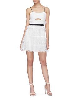 self-portrait Cutout ruffle guipure lace mini dress