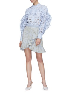 self-portrait Ruffle floral embroidered mesh skirt
