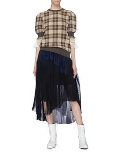 TOGA ARCHIVES 层叠泡泡袖格纹针织衫