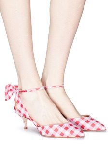 Paul Andrew 'Anya' bow ankle strap gingham check d'Orsay pumps
