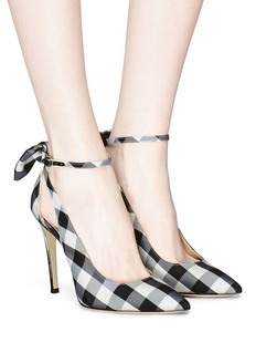 Paul Andrew 'Fiona' bow ankle strap gingham check pumps
