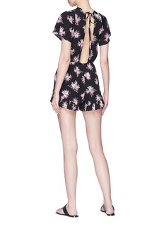 Topshop Open back rose print playsuit