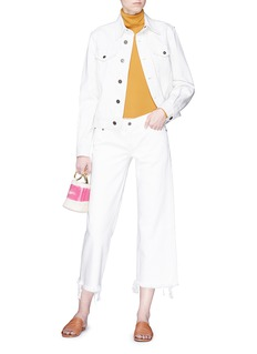 Simon Miller Raw cuff paint stroke cropped culotte jeans