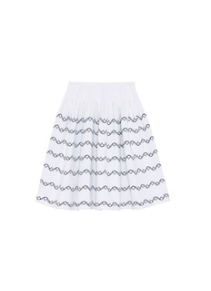 Alaïa Wavy stripe embroidered knit flared skirt