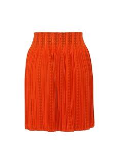 Alaïa Geometric cutout pleated knit skirt