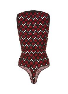 Alaïa Polka dot orchid jacquard knit bodysuit