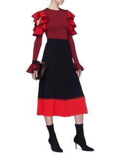 Alexander McQueen Colourblock pleated knit midi skirt