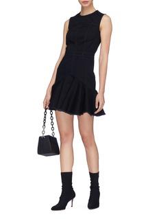 Alexander McQueen Frayed peplum denim dress