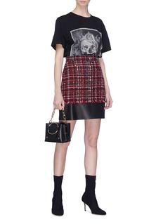 Alexander McQueen Leather panel tweed skirt