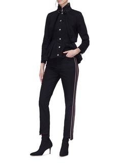 Alexander McQueen Logo embroidered stripe outseam jeans