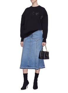Alexander McQueen Panelled fluted midi denim skirt