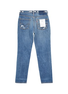 G.R.E.G Patchwork ripped unisex straight leg jeans