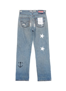 G.R.E.G Graphic patchwork ripped unisex straight leg jeans