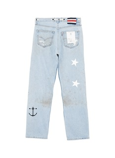 G.R.E.G Graphic patchwork smudge ripped unisex straight leg jeans