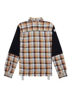 G.R.E.G Denim sleeve panel unisex check plaid shirt