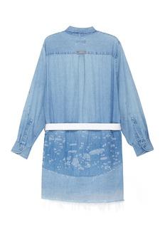 G.R.E.G Belted smudge panelled distressed unisex denim shirt jacket