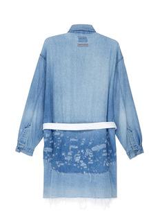 G.R.E.G Belted panelled distressed unisex denim shirt jacket