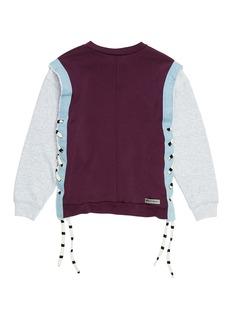 G.R.E.G Lace-up outseam graphic print unisex patchwork sweatshirt
