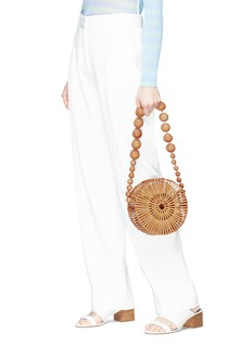 Cult Gaia 'Luna' beaded strap caged round bamboo shoulder bag
