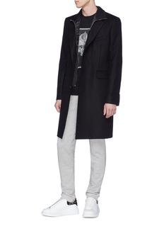 Alexander McQueen Detachable stripe zip panel melton coat