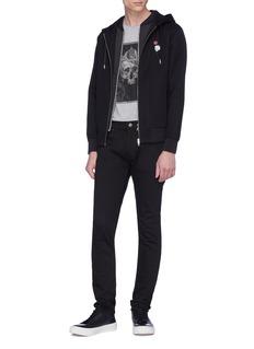 Alexander McQueen Skull rose embroidered neoprene double zip hoodie