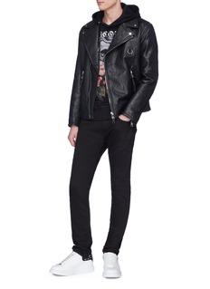 Alexander McQueen 品牌名称花卉骷髅头印花连帽卫衣