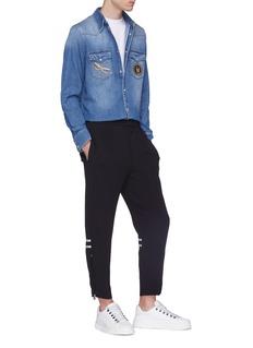 Alexander McQueen Satin stripe crepe jogging pants