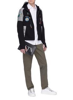 VALENTINO 电子游戏主题珠饰刺绣拼色连帽外套