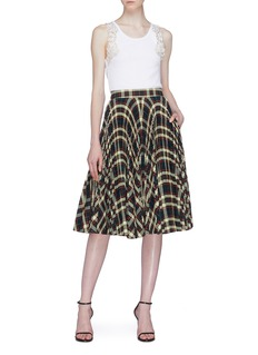 CALVIN KLEIN 205W39NYC Glen check plaid pleated skirt