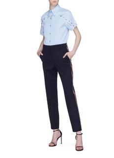 CALVIN KLEIN 205W39NYC Scallop trim snap button sleeve shirt