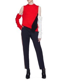 Calvin Klein 205W39NYC 拼色侧条纹混初剪羊毛露踝裤