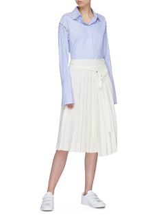MRZ Belted pleated virgin wool drape skirt