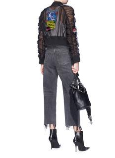 Ground Zero Mix motif appliqué cropped tulle bomber jacket