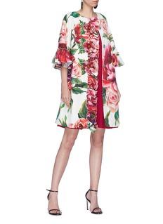 Dolce & Gabbana Ruffle flared sleeve peony print brocade coat