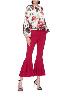 Dolce & Gabbana Peony print ruched silk crepe top