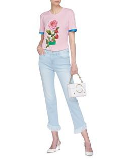 Dolce & Gabbana Satin cuff peony print T-shirt