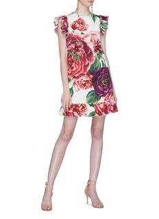Dolce & Gabbana Ruffle peony print brocade dress