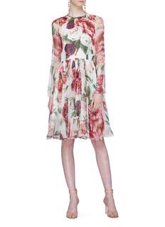 Dolce & Gabbana Peony print silk chiffon dress