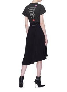 BALENCIAGA 品牌名称不对称百褶纸袋半身裙
