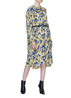 Balenciaga Logo belted twist neck tie silk dress