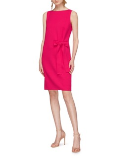 Oscar de la Renta Sash tie virgin wool-blend crepe dress